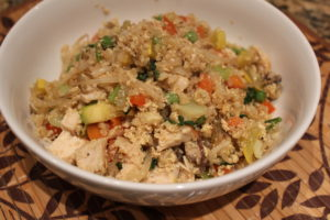 close up 2 healthy cauliflower chicken fried rice