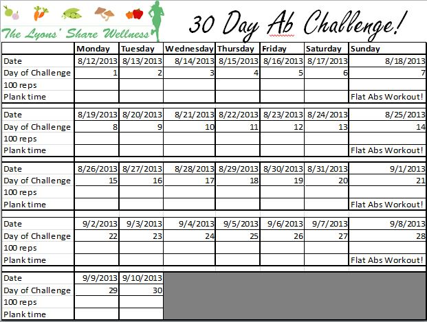 Inventive image inside printable 30 day ab challenge