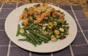 dinner plate with fall chicken and kabocha casserole