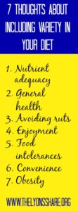 7 thoughts about including variety in your diet