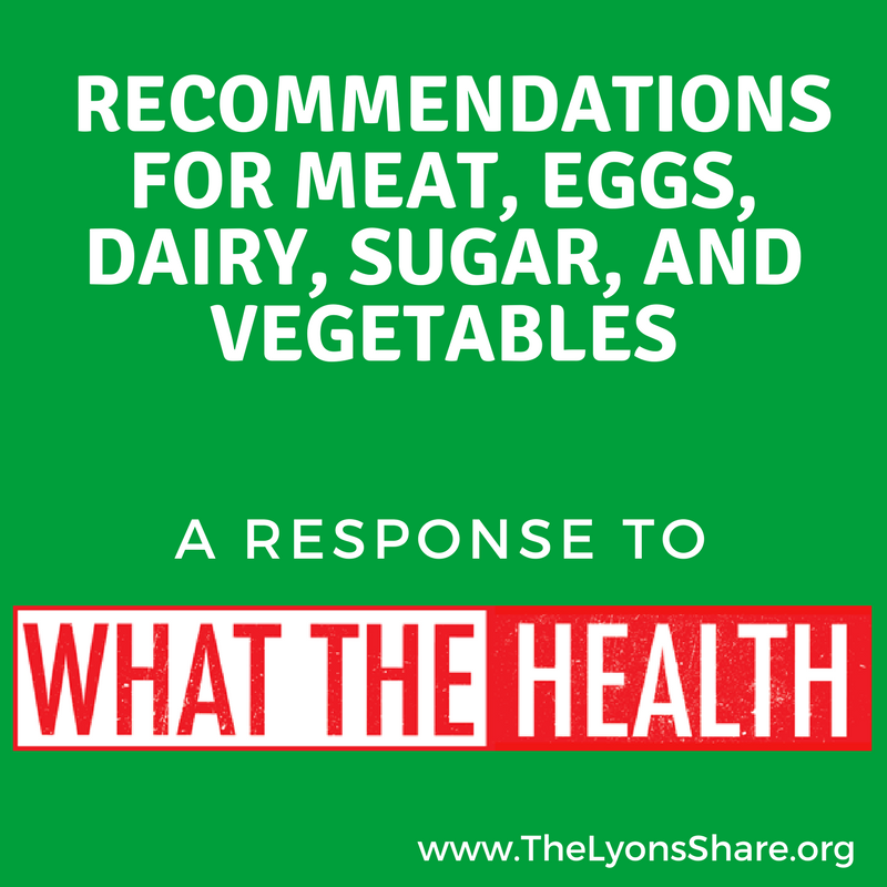 recommendations for meat dairy sugar eggs and vegetables