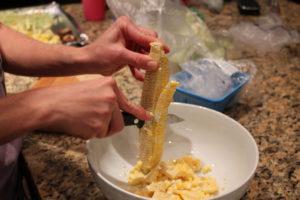 removing corn kernels